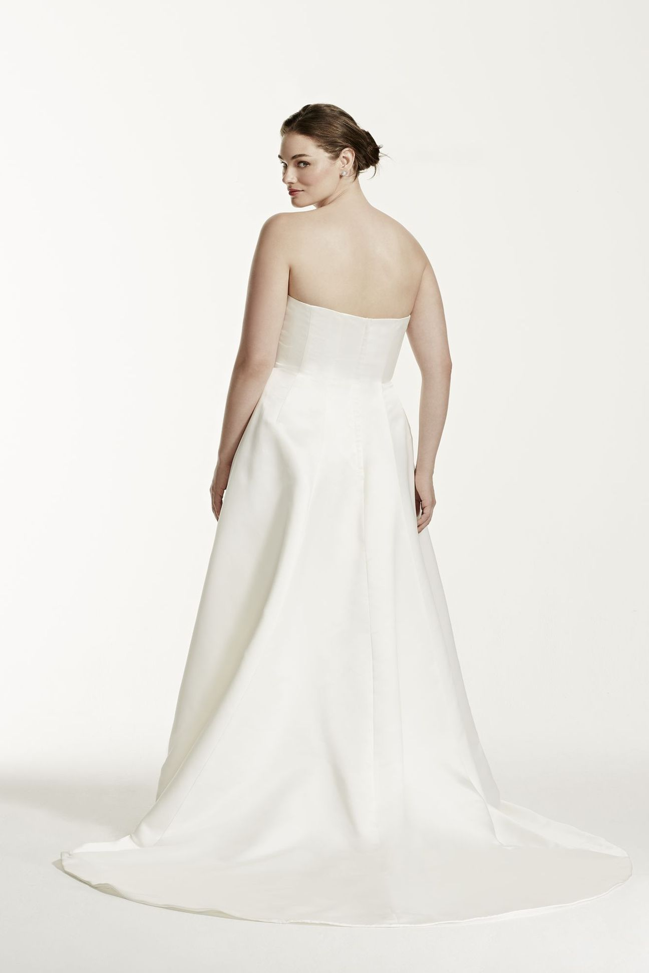 Plus Size Two Piece Strapless A Line Bridal Gowns W/ Sheer