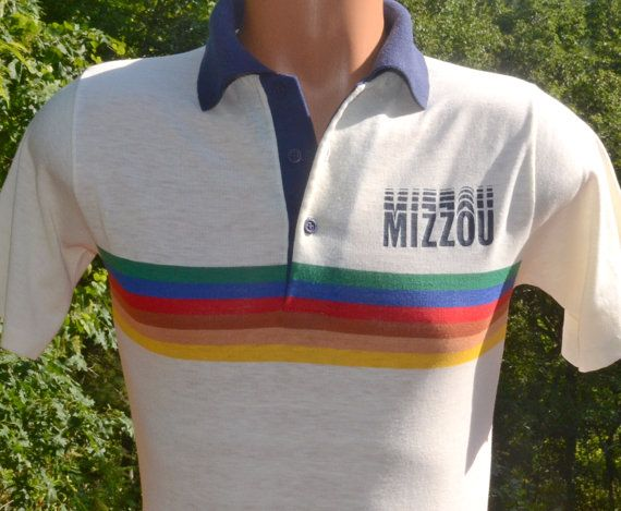 Vintage 70s Golf Polo Shirt Mizzou University Missouri Rainbow Etsy Golf Polo Shirts Polo Golf Shirts
