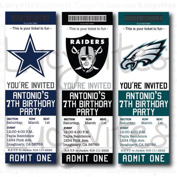football ticket stub digital invitation  any team  cute