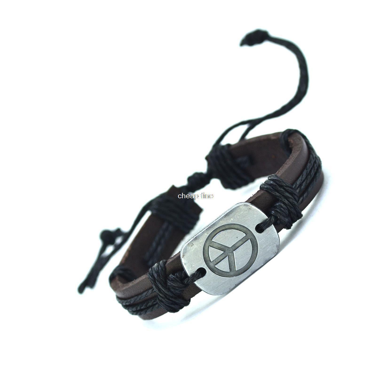 Peace leather bracelets cuff weave wrap leather men bracelets