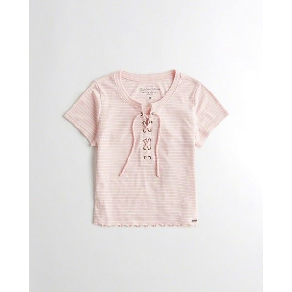3526a304 Hollister Must-Have Crop Sim T-Shirt ($15) ❤ liked on Polyvore featuring  tops, t-shirts, light pink stripe, pink tee, crop tops, striped crop top,  striped ...