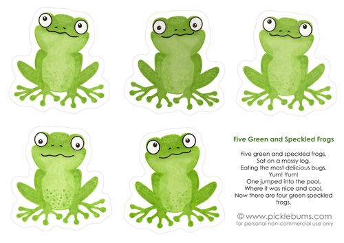 Five green frogs kid s music printable frogs - Frosch englisch ...