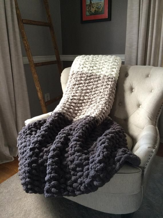 Giant Chunky Knit Ombré Throw Blanket - - Diy Crafts