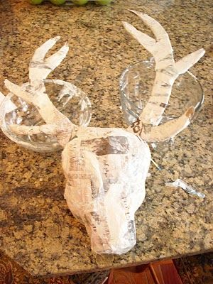 Paper Mache Deer Head This Would Be Beautiful Painted A Matte White Or Antiqued With Silver Leaf