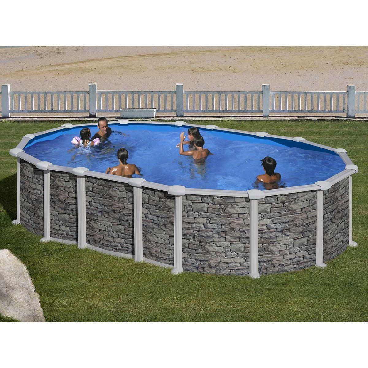 Piscine En Pierre Hors Sol piscine acier aspect pierre santorini ovale - gré | piscine
