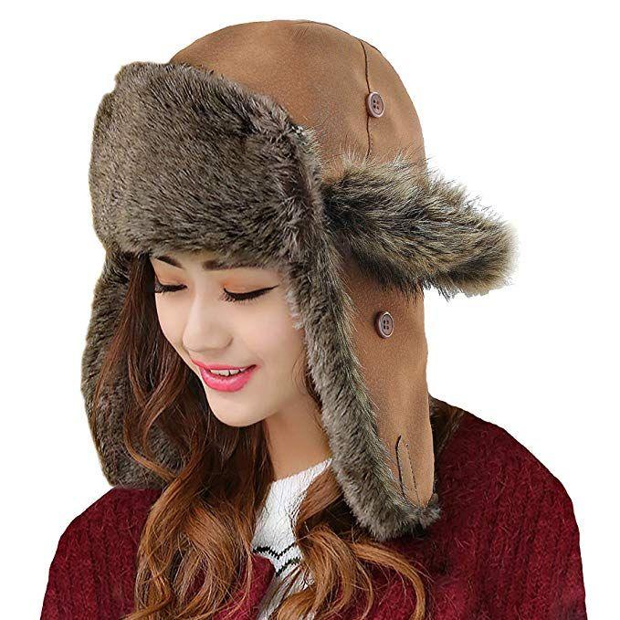 2322f27631aae Unisex Winter Hat Faux Fur Trapper Hat Cotton Wool Blend Warm Ushanka  Russian Hunting Hat