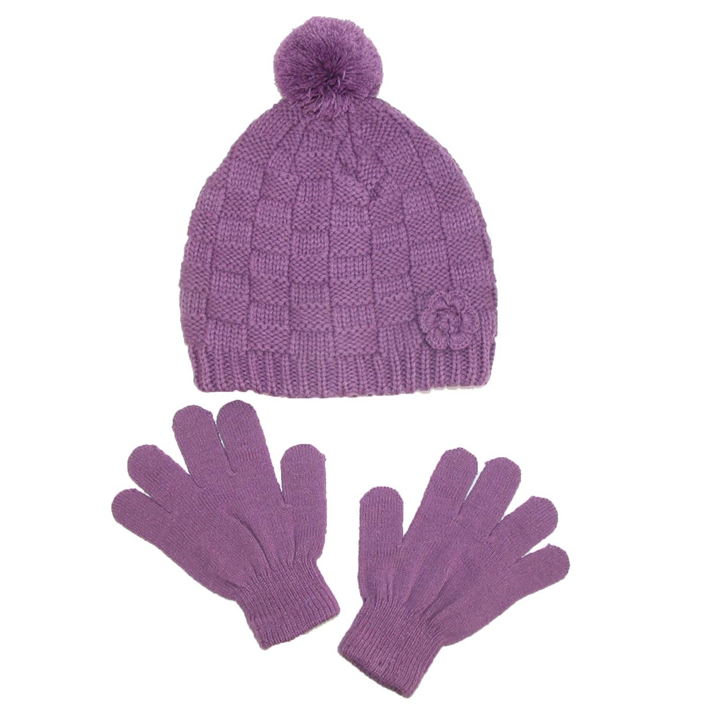 8542ca1893c CTM® Girls  Knit Hat with Rosette and Gloves Winter Set. Knit PatternsKnit  HatsThe ...
