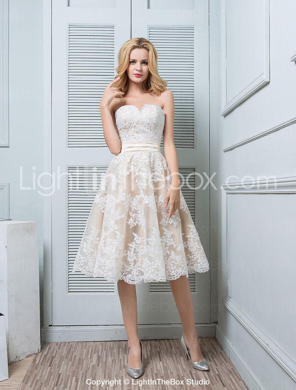 Γραμμή Α Καρδιά Μέχρι το γόνατο Δαντέλα πάνω από σατέν Φόρεμα ...
