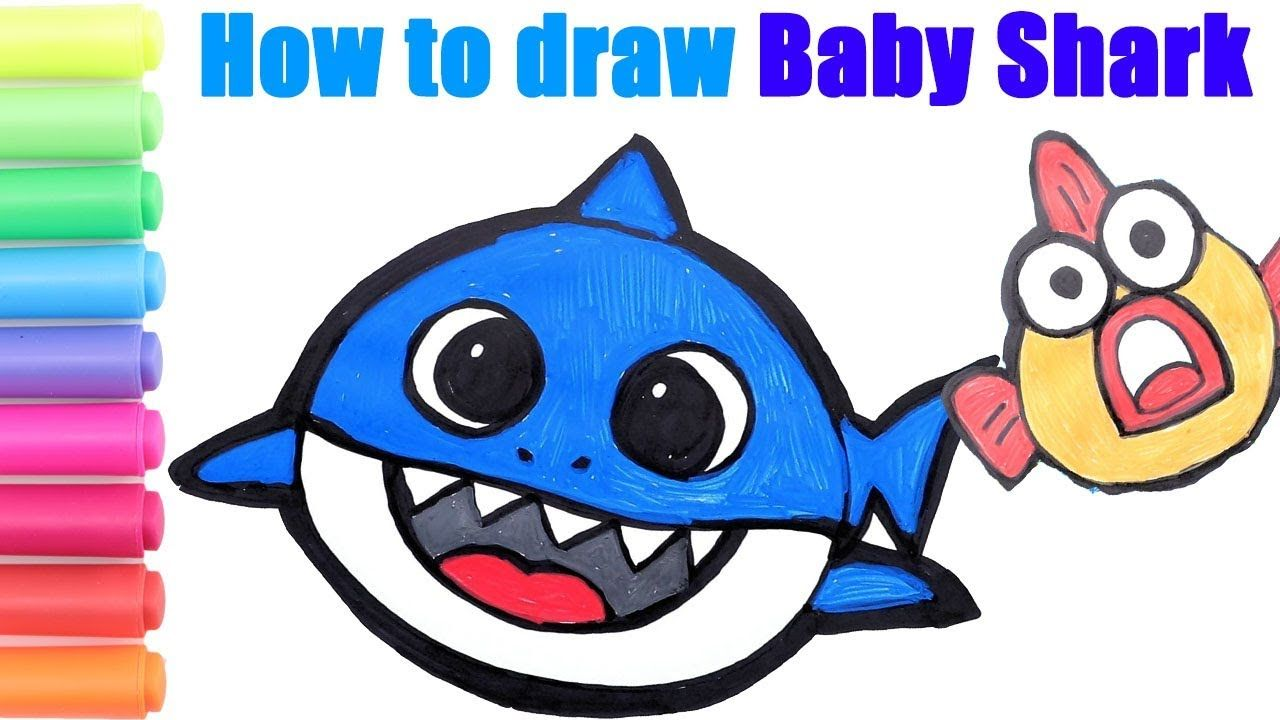 How To Draw Baby Shark Step By Step How To Read Spell Learn Numbers W Baby Drawing Baby Shark Shark Drawing