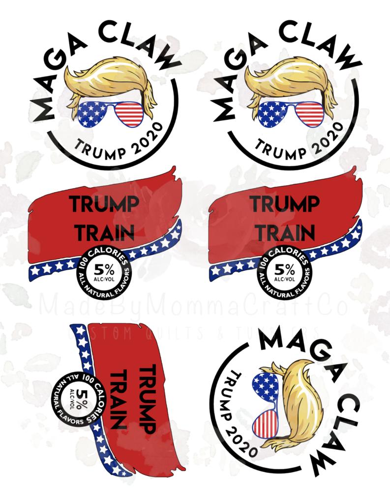 Trump Train Drink Label Waterslide Decals / laser decals