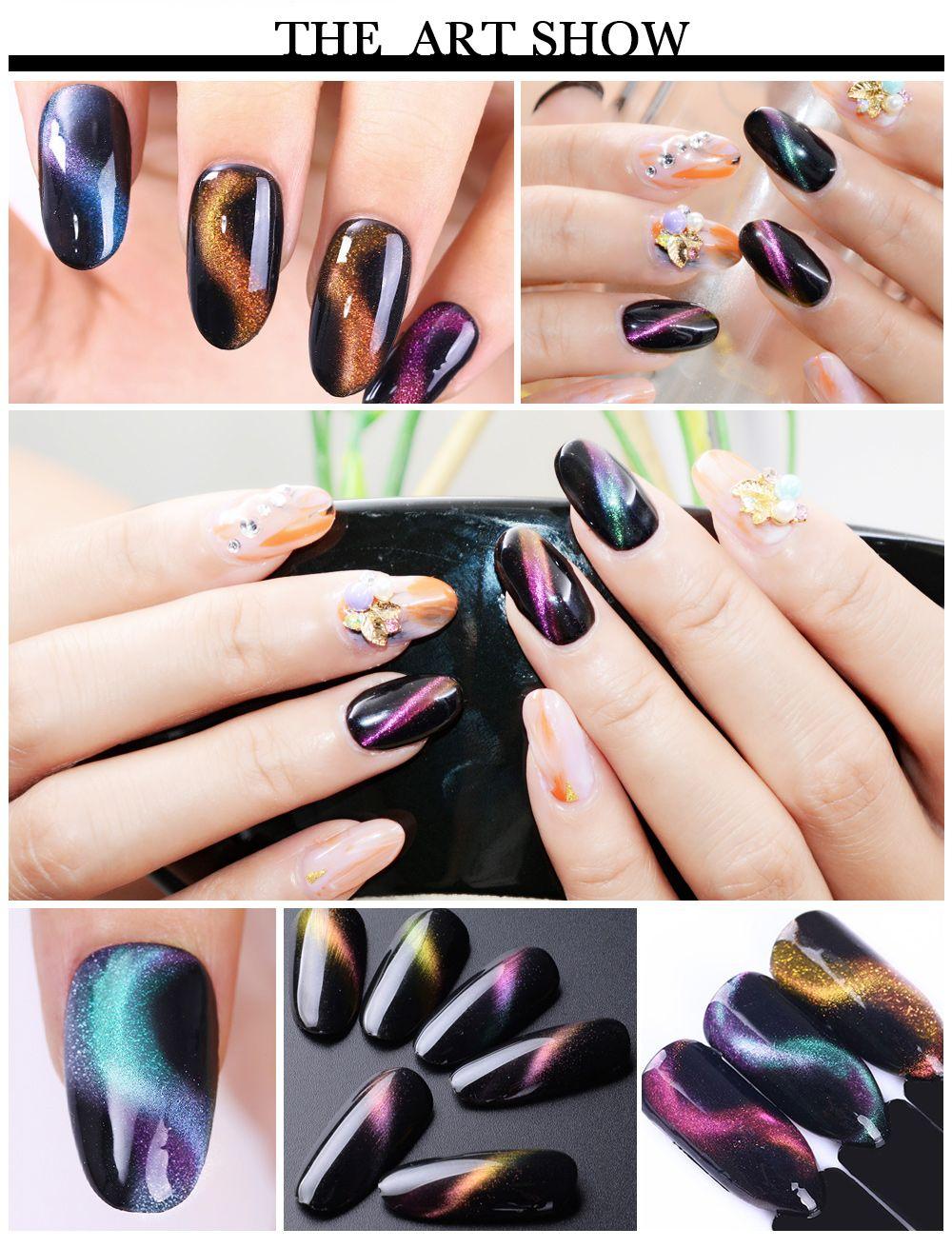 Magic Chameleon Cat Eye Nail Art Show Nails Pinterest Gel
