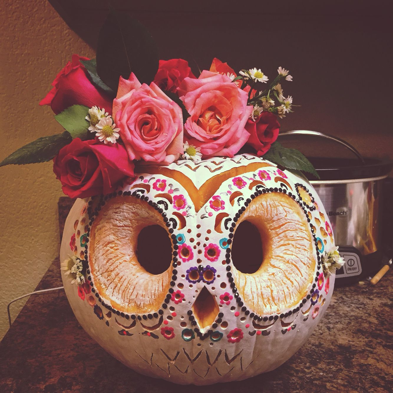 My sugar skull owl for the pumpkin carving contest