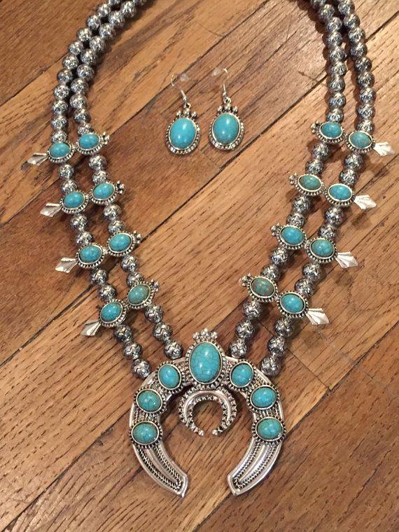 SALE Silver Desert Cactus Turquoise Necklace Set