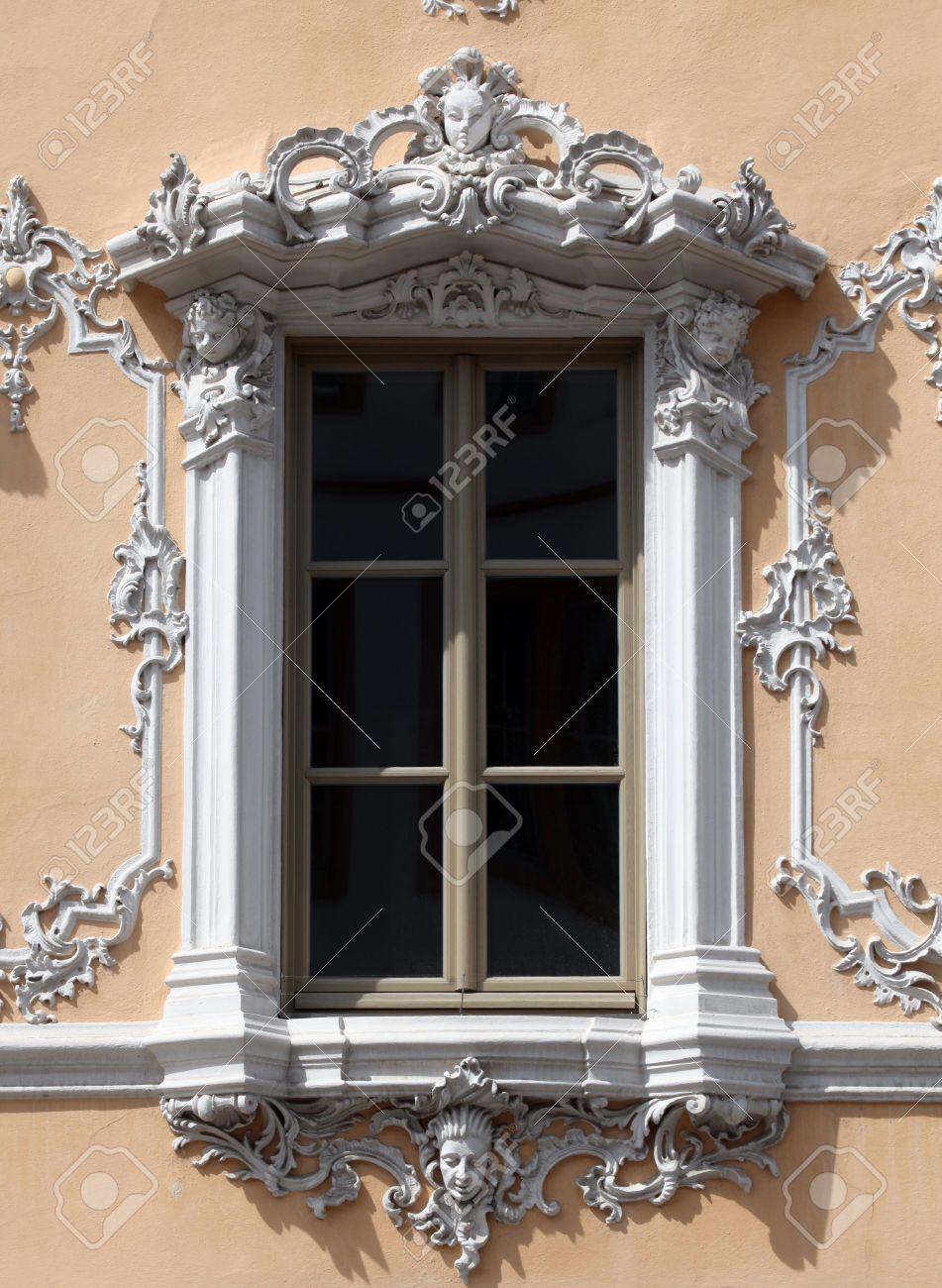 Window, House of Falcon, the finest Rococo style building in the city, Wurzburg, Germany