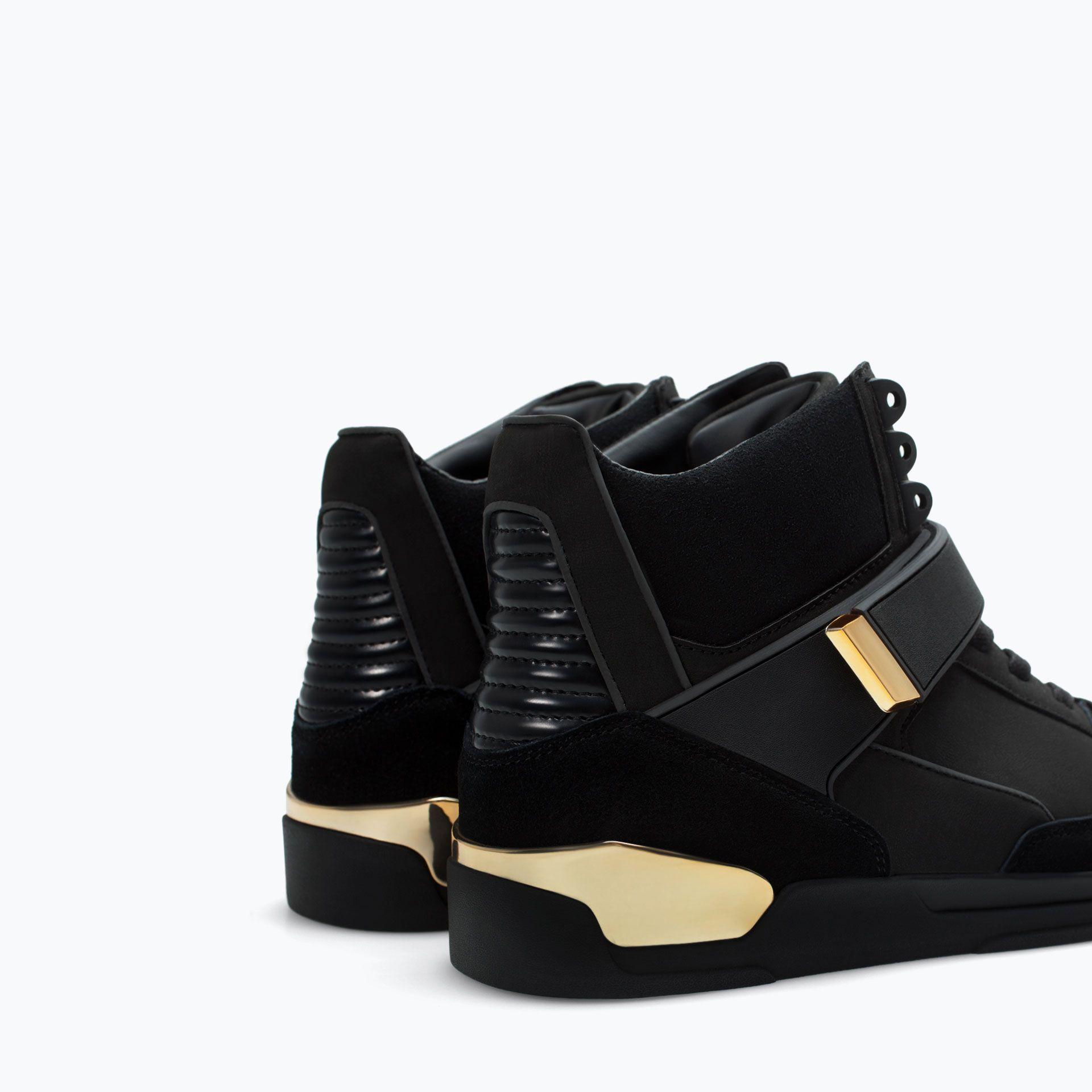 ZARA Hi-Top Sneaker With Metal Detail