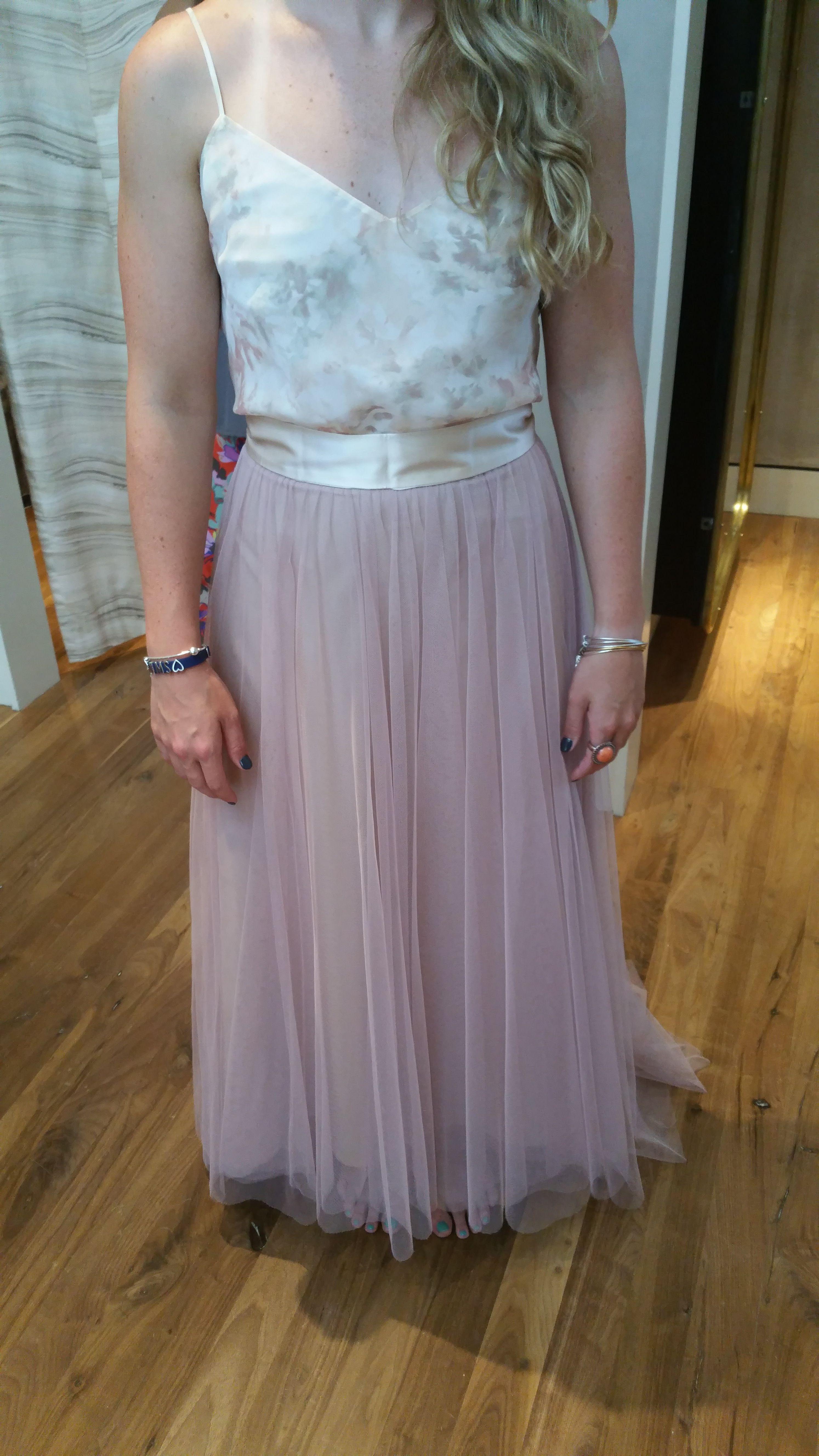 Burlap wedding dress sash  Bridesmaid   Rose Petal Skirt Blush Liv Cami and Pink Sash