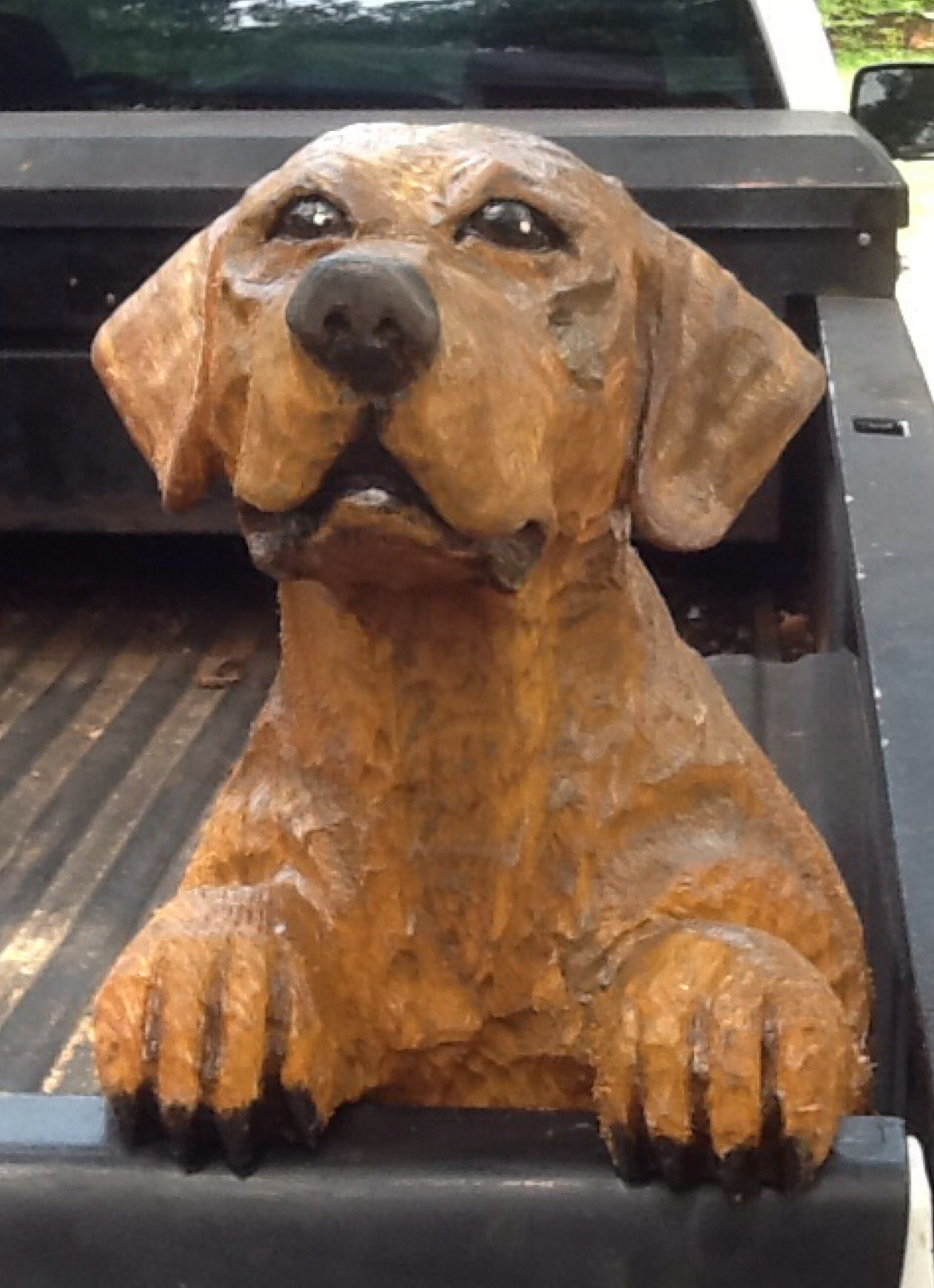Yellow lab truck dog wood carving our carvings dogs