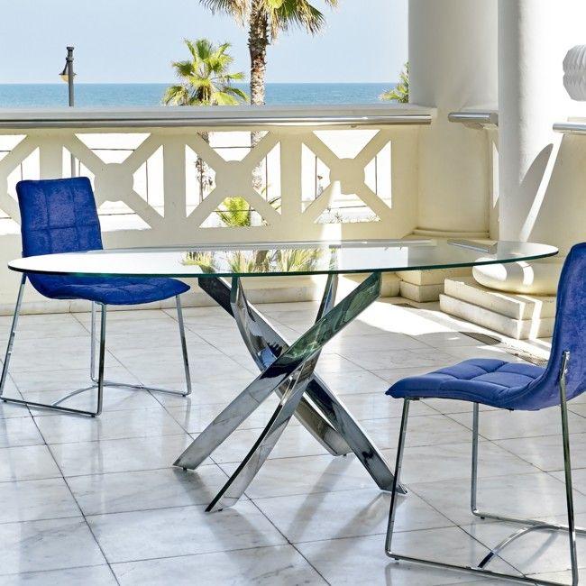 Mesa De Comedor Moderna Ovalada Cristal Base Acero Ok | mesas ...