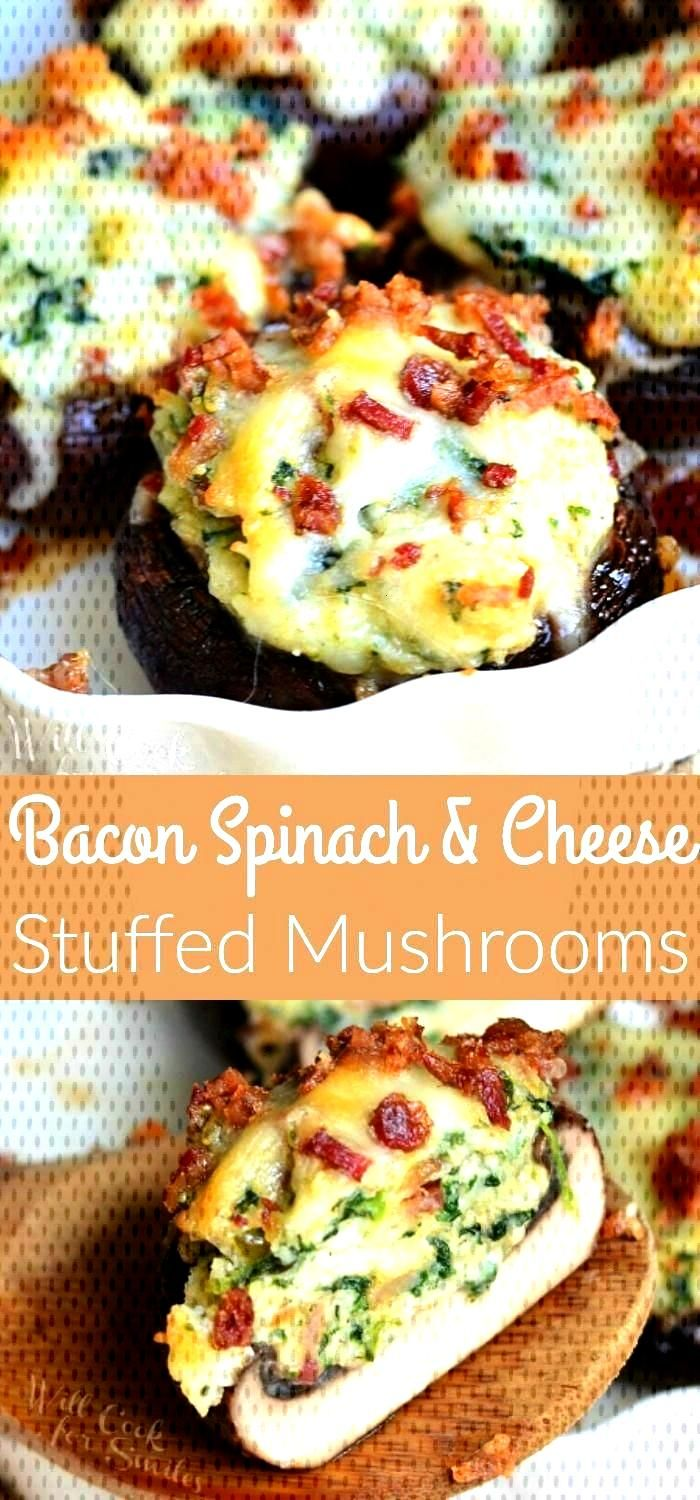 Bacon Spinach and Four Cheese Stuffed Mushrooms recipe. Incredibly delicious stuffed mushrooms, mad