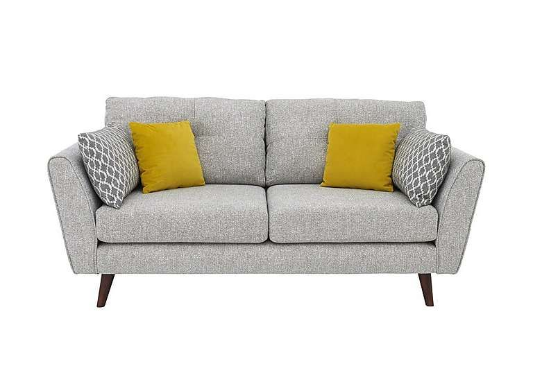 Compact 3 Seater Classic Back Fabric Sofa With 4 Scatter Cushions Mid Century Modern Style Wood Tapered Legs Choice Of Fa Fabric Sofa Sofa Furniture Village