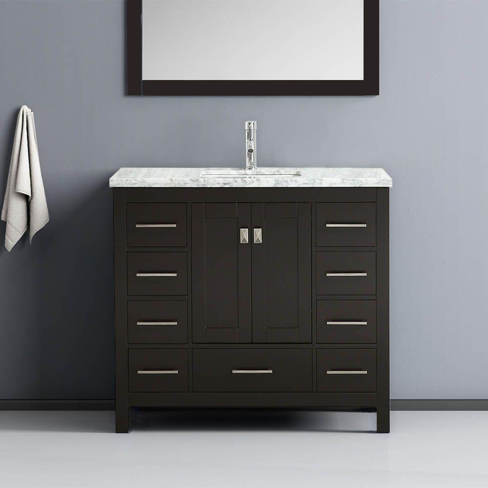Eviva Vanity London 36 X 18 Color Espresso Carrara Marble Top Bathroom Model Bathroom Vanity Small Bathroom Furniture