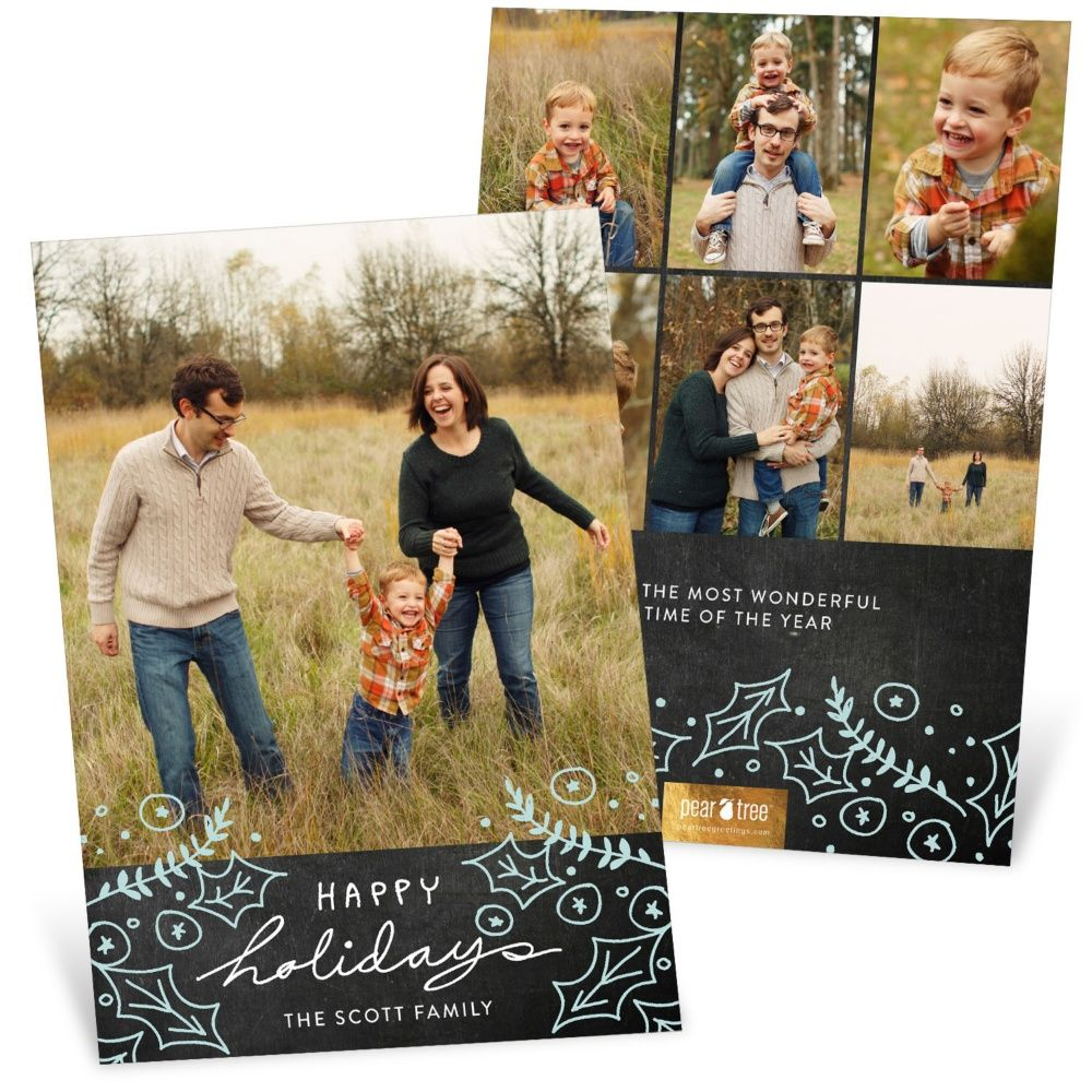 Pin by breanna schurtz on fun sayings designs pinterest pear tree christmas cards are designed to stand out from the rest personalize the happy holly chalkboard christmas cards with your choice of text color kristyandbryce Gallery