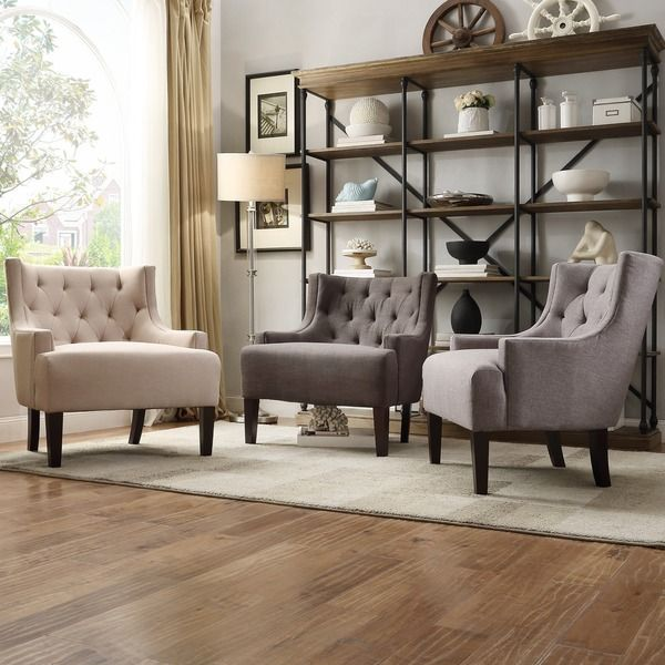 TRIBECCA HOME Tess Wingback Tufted Linen Upholstered Club
