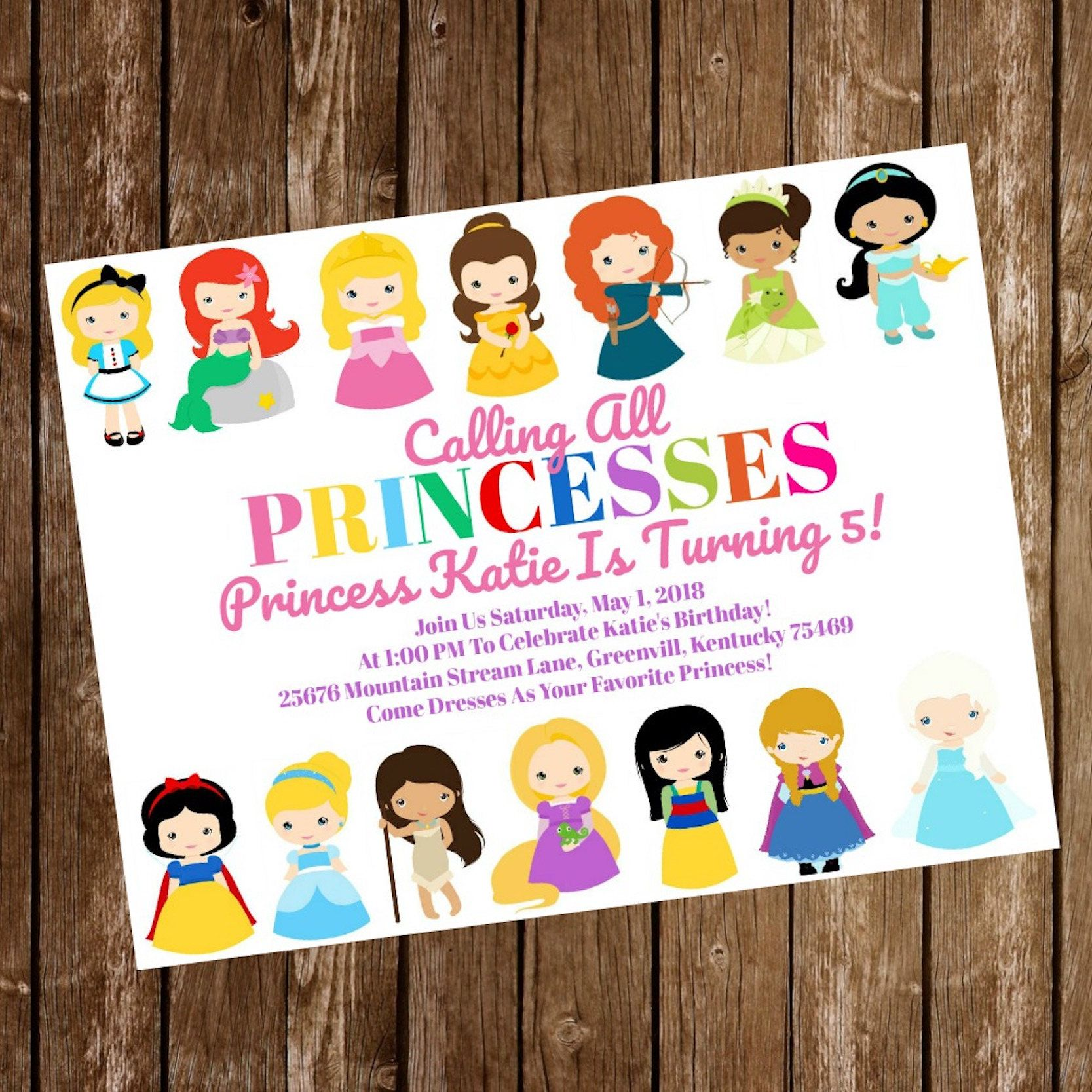 Belle Disney Princess Birthday Dress Invitation Download Cutout