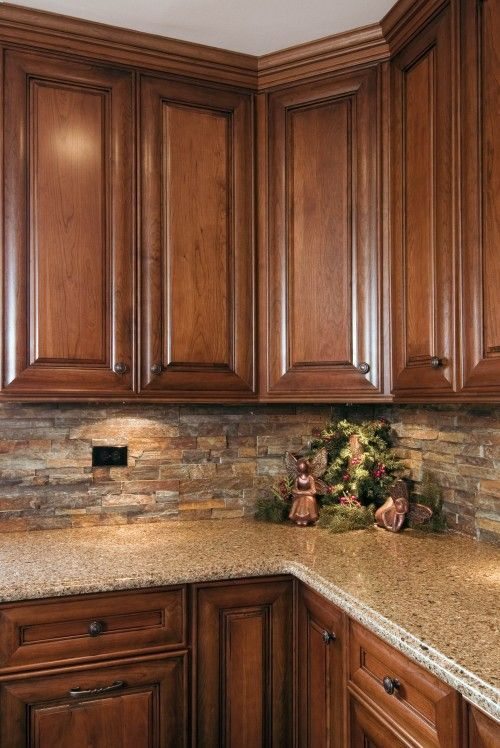 Like the cabinet style and backsplash tradition for Kitchen tiles pictures