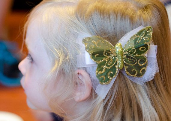 Gold and Green glittery butterfly hair clip by Simply Sae's on Etsy