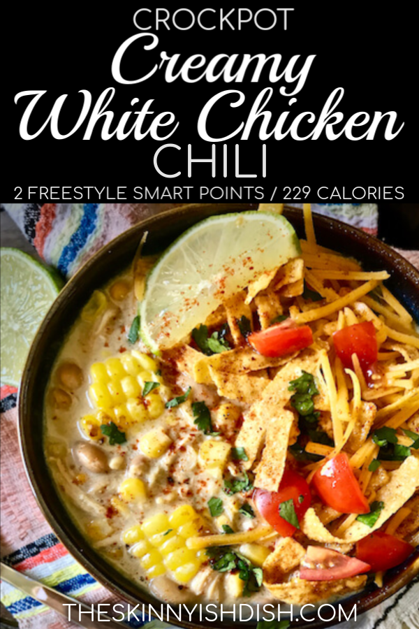 This easy Crockpot Creamy White Chicken Chili is the best recipe to assemble in the morning for a delicious dinner by night.  I've put my lightened up spin on this tasty recipe for a more healthy option for dinner tonight!  #crockpot #chickenchili #ww #whitechickenchili