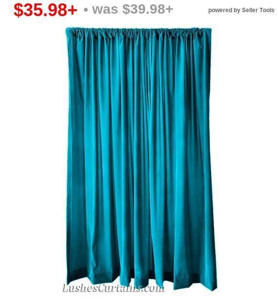 Elegant Turquoise Velvet 108 Inch Curtain Long Panel Extra Etsy