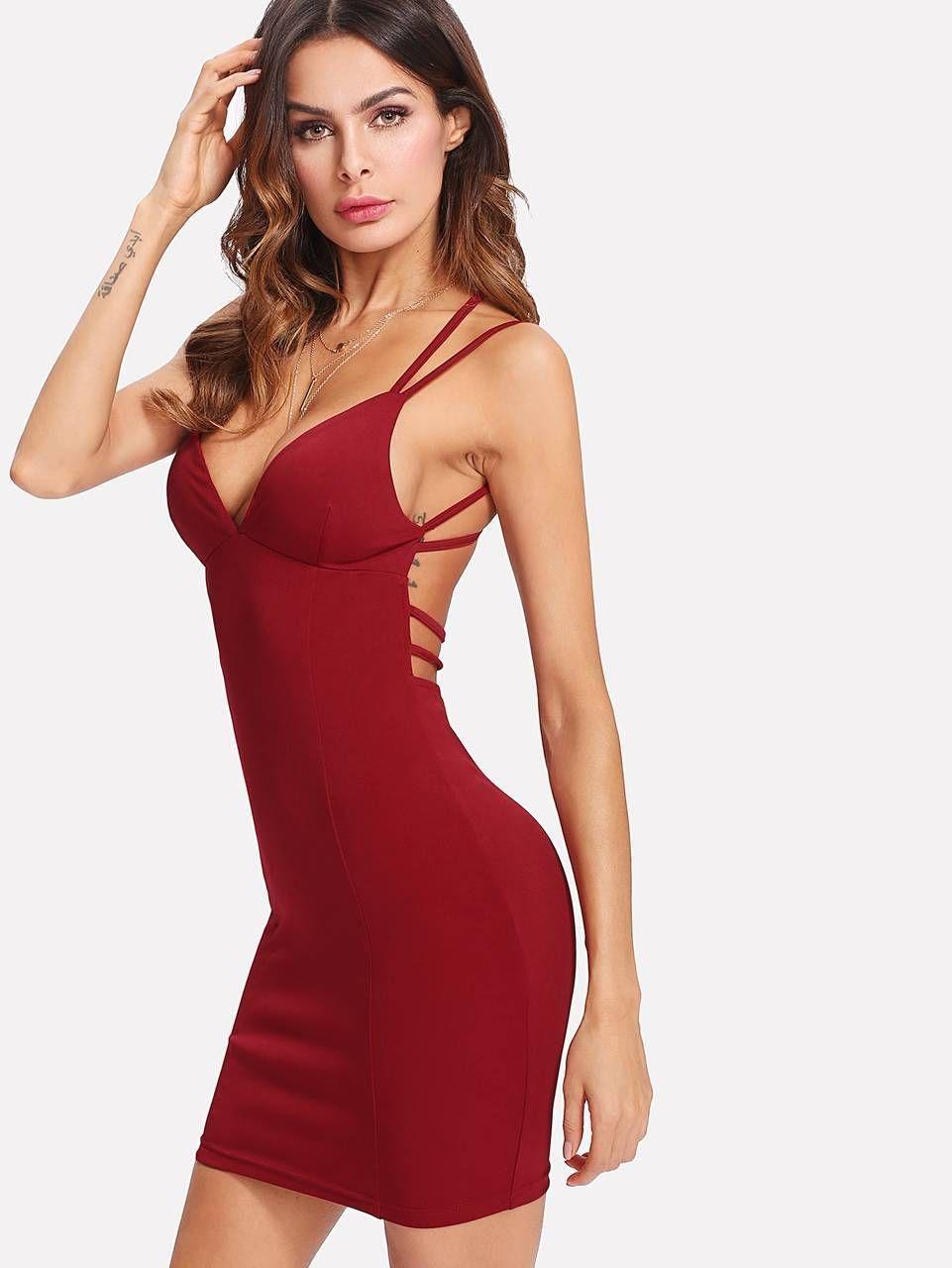 Strappy Backless Fitted Cami Dress Burgundy Bodycon Dress Cami Dress Fashion [ 1280 x 961 Pixel ]