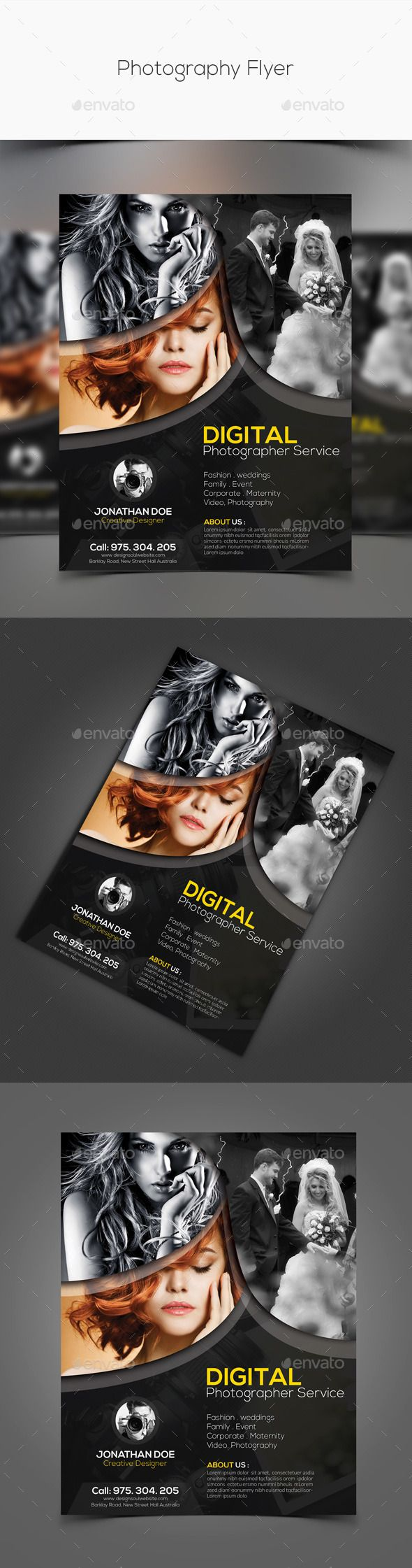 Photography Flyer — Photoshop PSD #event #magazine • Available here → https://graphicriver.net/item/photography-flyer/11267733?ref=pxcr