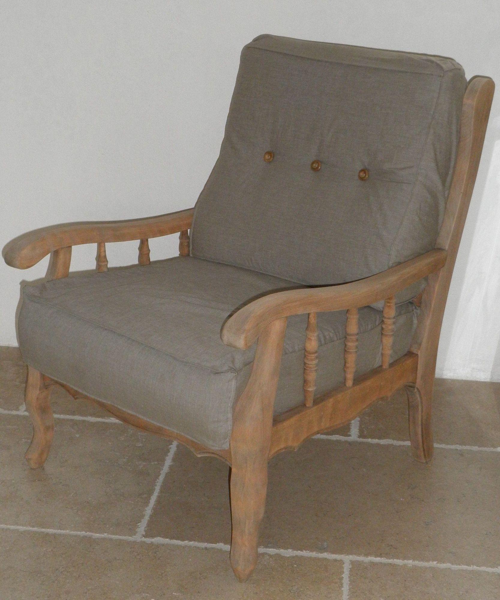 fauteuil ancien en bois grise relooke