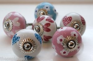 These Please Pink Blue & White Ceramic Door Knobs Handles Cupboard Drawer Hearts