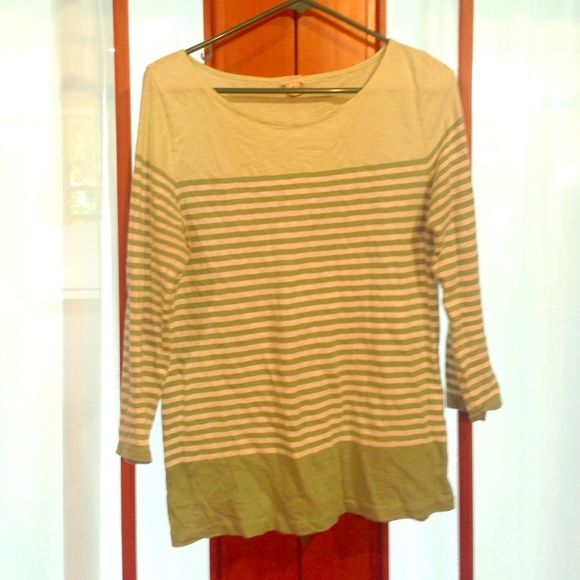 Green striped shirt Like new condition J. Crew Tops