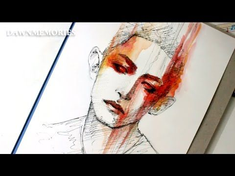 RED Watercolor Portrait Sketch - YouTube