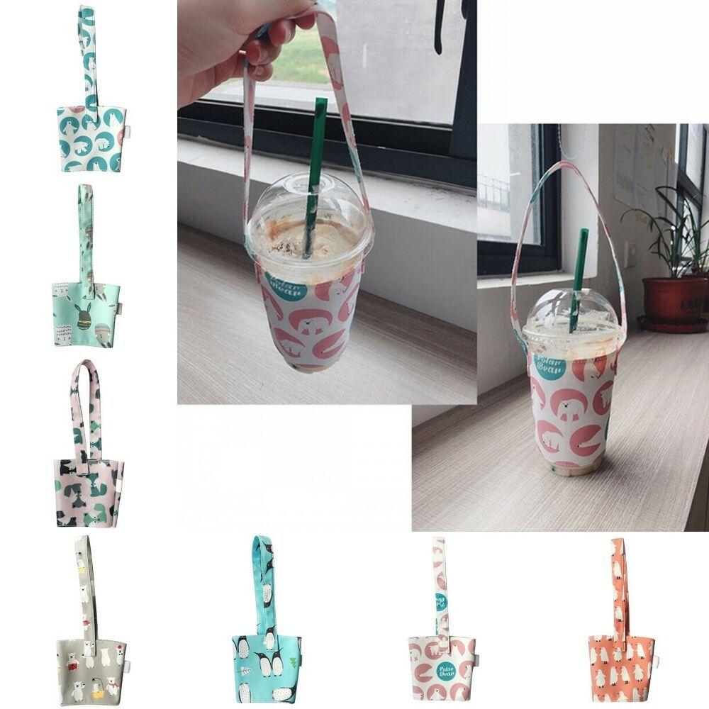 Portable Cup Bag Carrier Pure Cotton Cloth Cup Cover for Milk Tea Juice Handbag