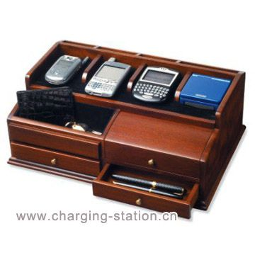 Wood Charging Station Valet Men Jewelry Charger