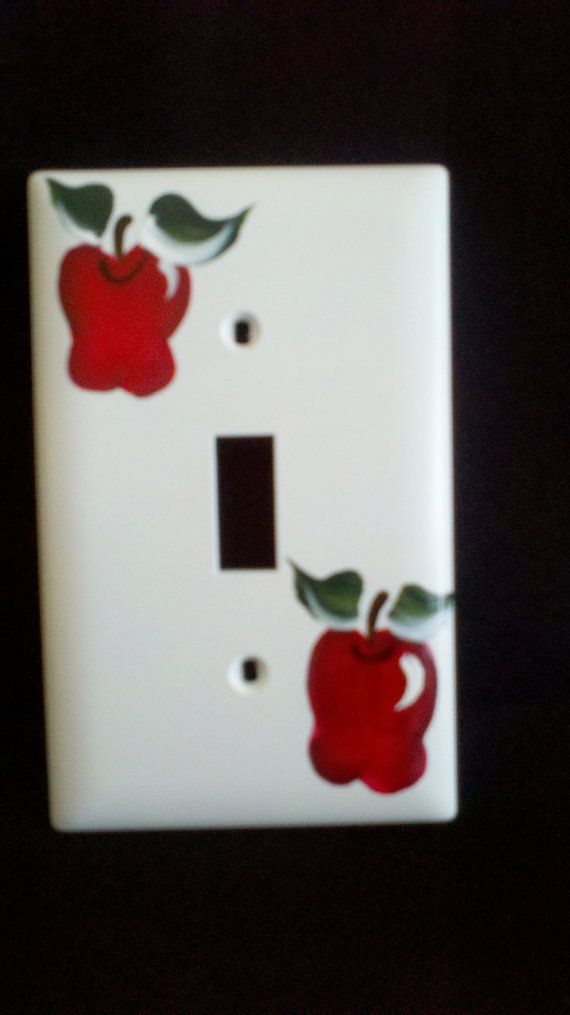 Handpainted+Apple+on+Single+Light+Switch+Plate+by+GloriaPainting,+$5.99
