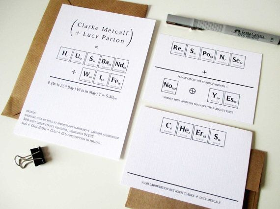 Wedding Perfect Chemistry Invitation Suite, Printable Set, Digital Templates, Periodic Table of Elements, geekery maths and science inspired