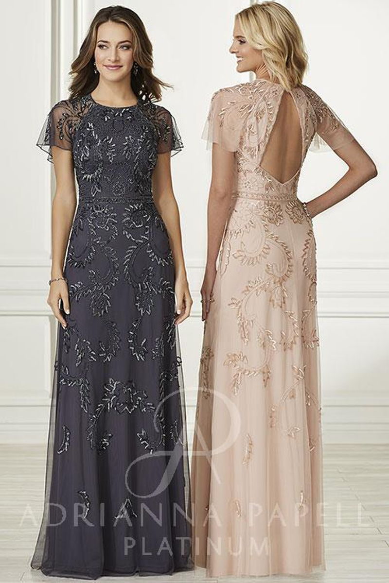 f1b871ccd37 This Adrianna Papell Platinum 40168 A-line bridesmaid dress features  illusion butterfly sleeves, to