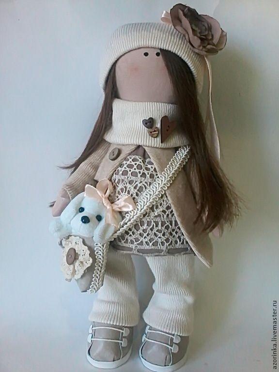 Купить Кукла Мариша - бежевый, интерьер, кукла Тильда, для дома и интерьера, подарки, натуральные материалы