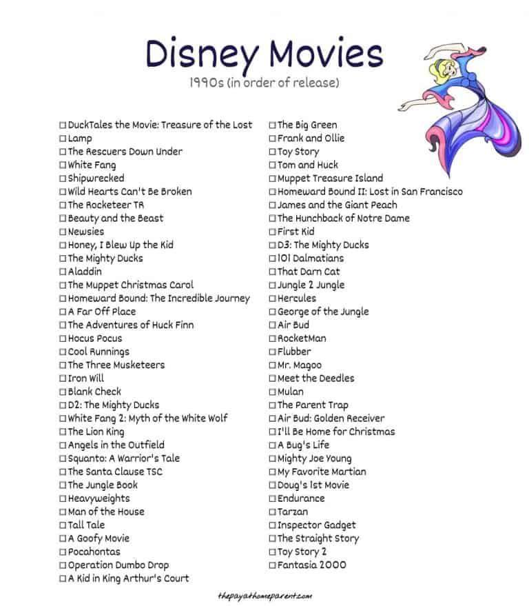 Free Disney Movies List of 400+ Films on Printable