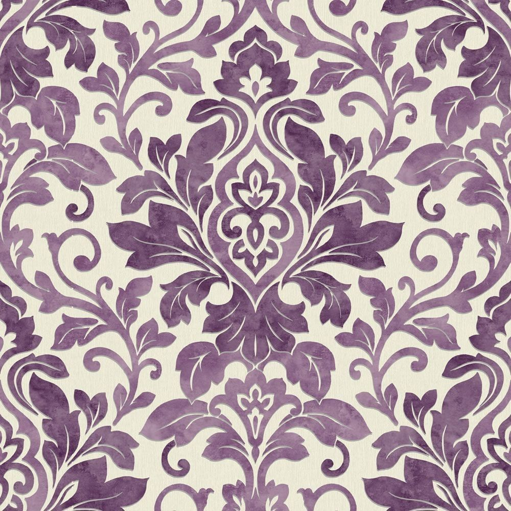 Purple Damask Wallpaper Plum Purple Cream 414602