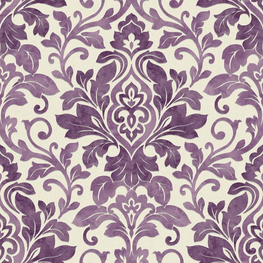 Grey Damask Wallpaper Pattern Bathroom Purple Victorian Samples