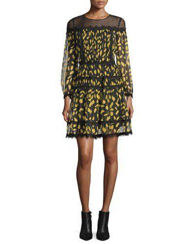 DIANE VON FURSTENBERG JAMIE LACE-YOKE PRINTED CHIFFON DRESS. #dianevonfurstenberg #cloth #