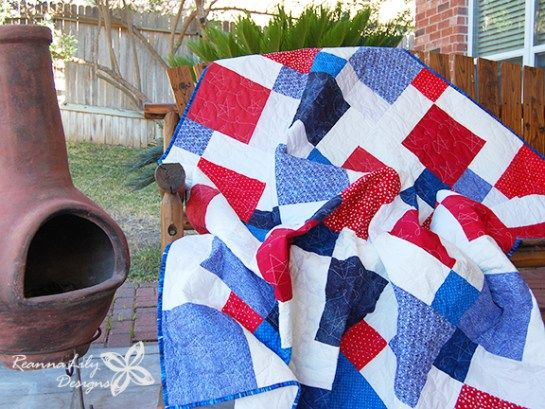 Patriotic Disappearing 9 Patch With Layer Cake Quilt