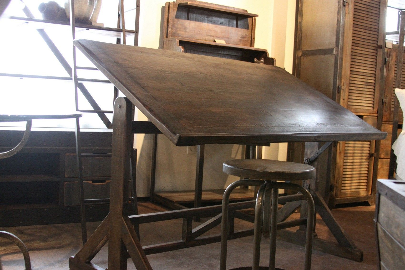Drafting Table Reclaimed Wood Century Old Hand Made